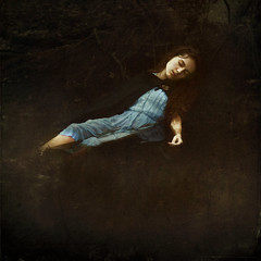 a witch's fate (Masha Sardari) Tags: blue portrait lake water self dark hair dead death dress flood witch maria curly tale masha sardari