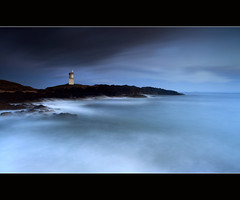 Elie Lighthouse (angus clyne) Tags: ocean blue winter light sea summer cliff sun lighthouse seascape west fall beach home water rock set dark lens landscape flow island scotland long exposure shine angle fife angus tide north wide scottish wave down east forth hour setting swell far elie firth clyne colorphotoaward canon5dmarkii