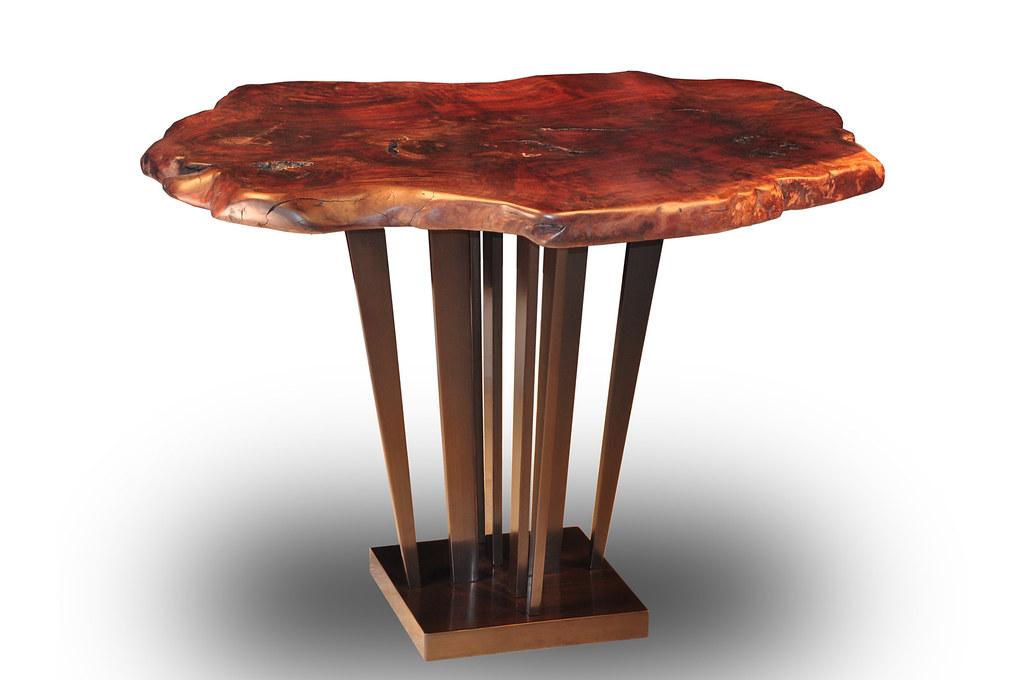 Claro-walnut Burl Slab Tree Trunk Table with Sunshine Bronze Pedestal Base