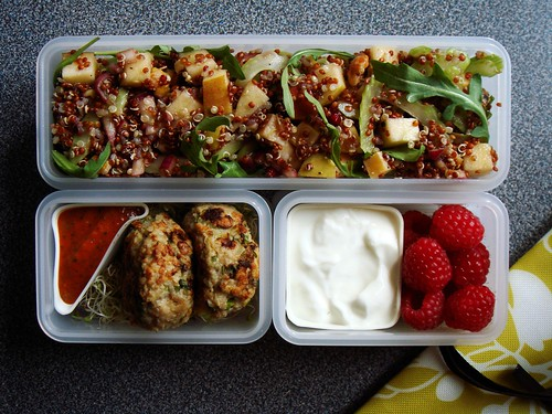 Waldorf Quinoa Salad Bento with Turkey Meatballs