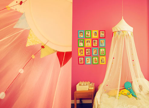 Menca's room with a canopy