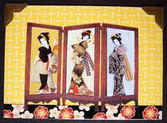 ATC602 - Japanese screen (tengds) Tags: flowers red black yellow atc kimono obi papercraft cardstock handmadecard japanesescreen decotape japaneseladies photocorner tengds