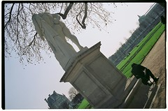 At odds (VLBPhotography) Tags: paris france film canon statues skaters palaisdetokyo jardindestuileries fashionweek trocadro rochas filmphotography fujireala100 tuileriesgarden canonf1new fd35mmf2