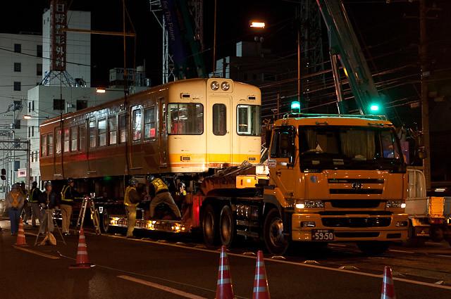 伊予鉄道700系 モハ722 廃車陸送