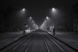 waiting for a tram @ a foggy sunday morning in zurich city
