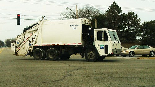 A CCC garbage truck from the City of Evanston Illinois Department of Sanitation. Glenview Illinois USA. Tuesday, March 8th, 2011. by Eddie from Chicago