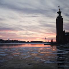 Stockholm City Hall (diesmali) Tags: city winter sunset lake ice water hall sweden stockholm sverige stadshuset stadshus mlaren canoneos7d gettyimagesswedenq1