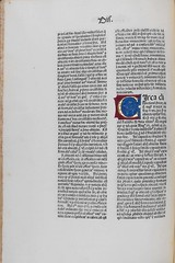 Illuminated initial in Duns Scotus, Johannes: In primum librum Sententiarum (University of Glasgow Library) Tags: incunabula specialcollections incunables incunabulum incunable jeanbaptistecolbert universityofglasgowlibrary johannesdecolonia johannesmanthen spcollhunterianby23 dunsscotusjohannes inprimumlibrumsententiarum