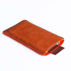 leather iPhone sleeve tan oranje (Jolioriginals) Tags: orange happy bright an lightbrown iphone4sleeveiphoneapplesleevecaseleatherfeltwooljolioriginalsjoliwwwjolioriginalscom