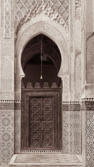 Doorway, Bou Inania Madrasa, Fez, Morocco, 2007 (larkvi) Tags: africa door arch northafrica madrasah stonecarving mosque arabic morocco fez medina woodcarving fes islamicarchitecture 2007november marinid madrasabouinania bouinaniamadrasa