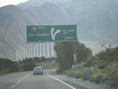 End CA-62 West at I-10 (sagebrushgis) Tags: california sign i10 overhead interchange riversidecounty interstatehighway biggreensign ca62 freewayjunction californiastatehighway
