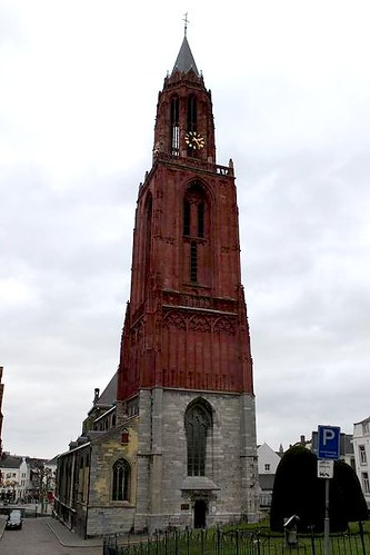 Church with red tower in Maastricht