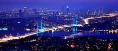 [Free Image] Architecture/Building, City/Town, Bridge, Night View, Turkey, 201103170100
