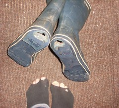 holes in both socks and rubber boots (lasseman92) Tags: broken wet sport socks out sock toe hole boots bad rubber dirty holes holy smell terrible worn torn wellies hobo smelly hollow stinky ragged tattered holey froozen