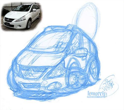 My Mitsubishi Grandis car caricature by Lemoris Harris