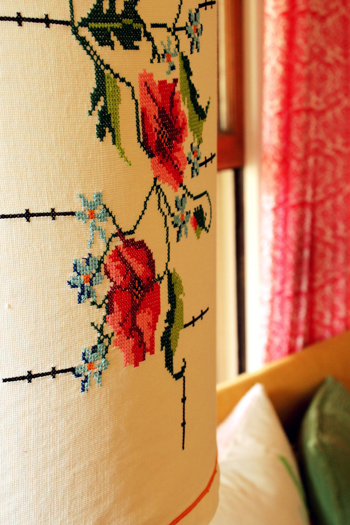 lamp embroidery close-up