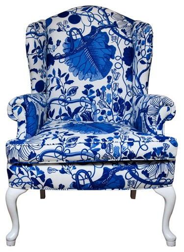 blue and white wingback vintage chair