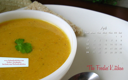 Foodies Freebie: April 2011 Desktop Calendar
