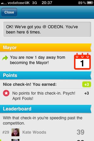 Foursquare's April fool
