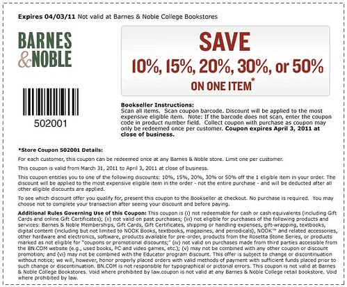 Barnes & Noble discount coupon