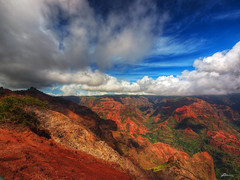 waimea canyon (paul bica) Tags: ocean statepark above old trees red wild vacation sky cliff mountain holiday history tourism nature beauty clouds relax paul outdoors volcano hawaii see big view pacific general dr altitude air hill great north wide large dramatic peak scene lookout hwy formation ridge soil level valley massive kauai area stunning waimea elevated activity breathe visitor ultra height immense impressive dex rd steep depths unwind 550 splendor kokee 7mm alakai kekaha ahupuaa colorphotoaward allxpressus dexxus napalikona 20110209ha4kauai50446