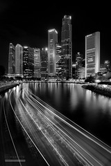 Towards Excellence (syphrix photography) Tags: singapore river boat tourism travel tourist night life monochrome financial taxi ferry restaurant riverside attraction bustling quay outdoor syphrix 2016 asia south east canon black white light trail long exposure