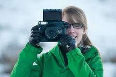instax girl! (Dbennison) Tags: camera winter snow canada cold girl fun fuji bc pentax katie cranbrook instax k20d