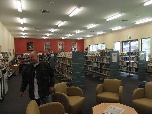 Alan Walker, ummm, walking in Braidwood Library