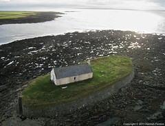 St Cwyfan's Church, near Aberffraw, Anglesey [2] (->>Hamish) Tags: beach church wales island bay aerial kap islet causeway 2011 st llangwyfan aberffraw ancient china sea church photograph kite isle irish porth anglesey cwyfan