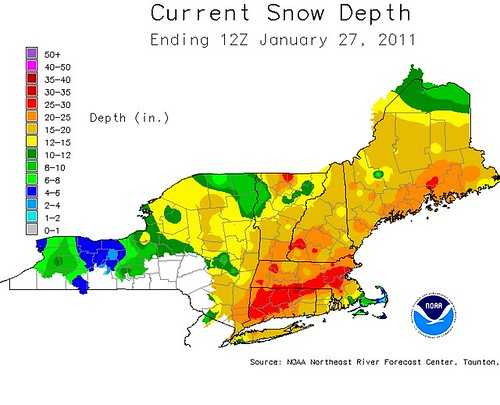 NOAA Snow Totals as of January 28, 2011