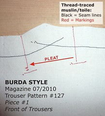 Thread tracing muslin pieces