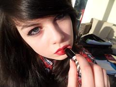 (seemyshadow) Tags: blue light red brown sun black girl fashion shirt hair check eyes long inspired bored lips mascara lipstick vain topshop americasnexttopmodel