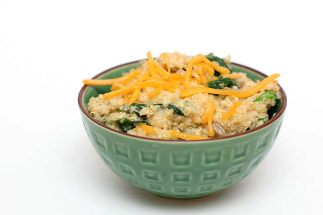 "Quinoa ""mac and cheese"" with spinach"