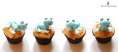Blue Lizards (Little Cottage Cupcakes) Tags: birthday cupcakes turtle reptile snake frog lizard toad crocodile chameleon fondant cupcaketower sugarpaste littlecottagecupcakes