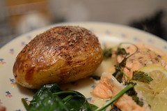 Kai's First Baked Potato (Jamie Kitson) Tags: uk england food london potatoes lemon britain salt salmon spinach bakedpotato edgewareroad