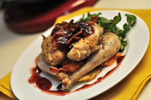 Pan Roasted Pheasant with Carrot Puree and Watercress Salad