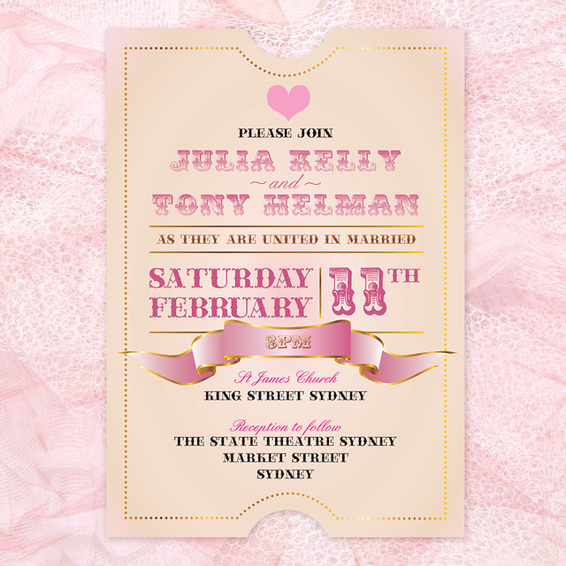 centre stage wedding invitation