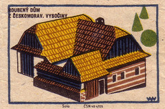 Timbered house from Ceskomoravia, Highlands (oliver.tomas) Tags: architecture print graphicdesign folkart czech ephemera 1960s 1961 czechoslovakia slovak matchboxlabels ceskoslovensko
