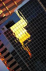 Tampa Bay Lightning  46 / 365 (Robert_Keller) Tags: blue sky orange abstract reflection geometric yellow buildings tampa florida lightning suset