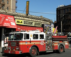 "E042e FDNY ""Made from the best stuff on Earth"" Engine 42, Mount Hope, Bronx, New York City (jag9889) Tags: county city nyc house ny newyork building station architecture fire store bronx engine company borough liquors firehouse fdny 42 firefighters seagrave bravest 2011 mounthope engine42 e042 y2011 jag9889 universityheightsboulevard"