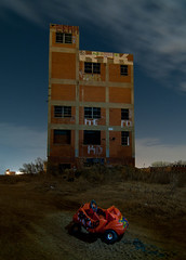 The Breakdown (Noel Kerns) Tags: plant abandoned car night toy texas fort packing meat worth swift