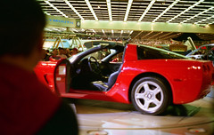Corvette on the turnstyle (dharder9475) Tags: film 35mm unitedstates michigan detroit 1997 corvette c6 naias detroitautoshow northamericaninternationalautoshow 4star ricohxrm privpublic