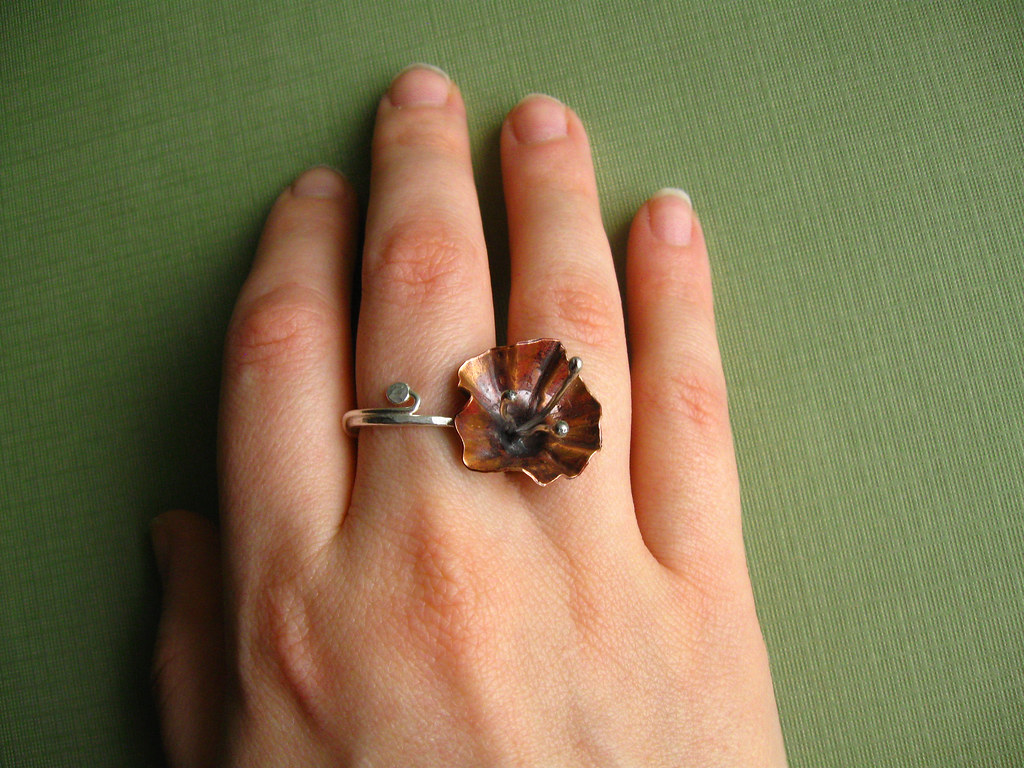 RAW 8/52 Fold Formed Copper and Fine Silver Hibiscus Ring