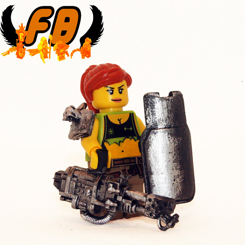 Custom minifig Post-Apoc Babe with Flamethrower