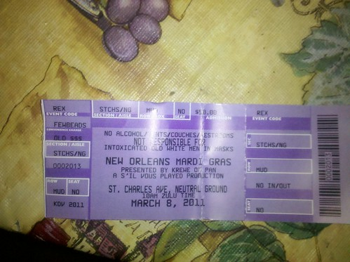Ticket to the Mardi Gras