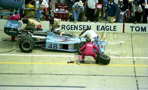 Bobby Unser Pits During the 1975 Indianapolis 500