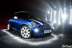 """BMW Mini Cooper In Blue With White Stripes The Main Attraction (NWVT.co.uk) Tags: blue light white hot car painting photography nikon long exposure photographer with williams stripes main nick mini automotive cooper bmw hatch attraction the in cinimatic strobist """"nikonflickraward"""" nwvt"""