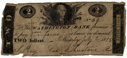 Washington Bank Two Dollars 1825