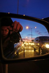 self portrait driving (photohobbies) Tags: selfportrait car driving traffic sony jakarta rearmirror tendean lamplights nex5