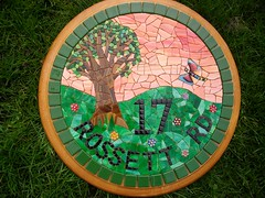 Stained glass mosaic house number, ready to grout. (number17) (fiona parkes) Tags: flowers sunset glass sign plaque dragonfly mosaics stainedglass 17 housename housenumber millefiori mosaichousenumber housenumber17